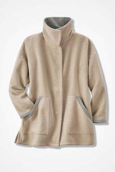 Double-Faced Fleece Coat, Camel