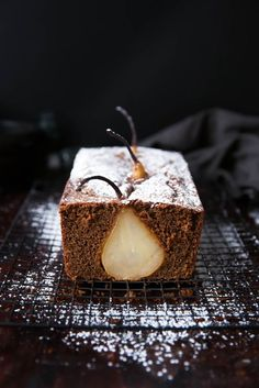 Drunken Pear Ginger Bread: spiced white wine poached pears enveloped in a rustic ginger bread!