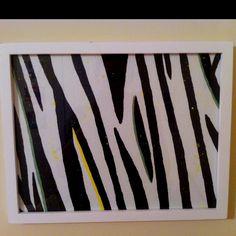 Framed zebra painting I made