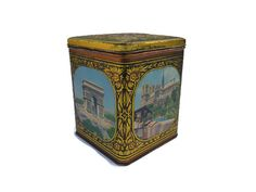 Vintage Candy Tin . Demaret Container . Old Canister . by Majilly