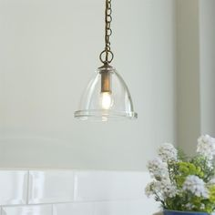Brass Dairy Pendant Light | Glass Ceiling Light | Jim Lawrence