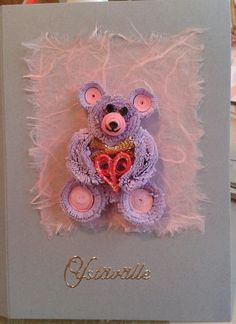 Valentine's day card; teddy bear with heart by quilling