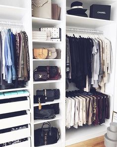 tall narrow shelf for bags and other little essential thingsHer side of the closet