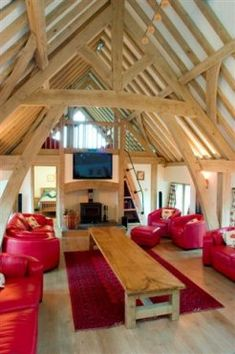 Party room in converted barn with new green oak frame structure