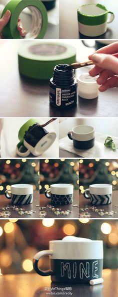 Have you seen those cute chalkboard mugs at Starbucks? Make your own DIY painted version using Dollar Store mugs, Porcelaine chalkboard paint and painter's tape. Diy Tableau Noir, Pebeo Porcelaine, Diy Becher, Diy Chalkboard Paint, Chalk Paint, Chalkboard Drawings, Chalkboard Lettering, Homemade Chalkboard, Chalkboard Ideas