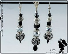 Black and Silver Pendant and Earrings Set by IVsSpecialtyShoppe