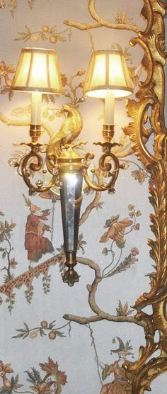 cast brass and solid crystal sconce hand-crafted with peacock motif; wall lighting ideas