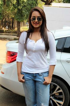 Sonakshi Sinha Hot Stills in White Dress & Blue Jeans