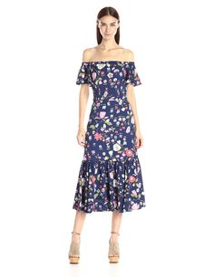 Amazon.com: Rebecca Taylor Women's Off-The-Shoulder Tap Garden Dress: Clothing