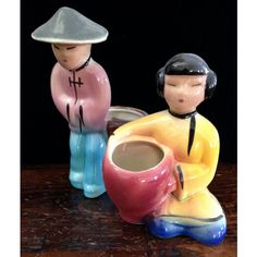 Mid Century Ceramic Planters of an Adorable Asian Couple ($36) ❤ liked on Polyvore featuring home and home decor
