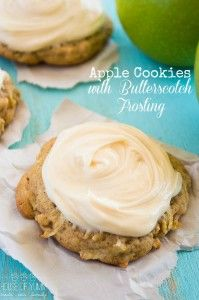 Apple Cookies with Butterscotch Frosting - House of Yumm