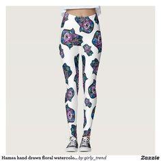 Hamsa hand drawn floral watercolor pattern leggings