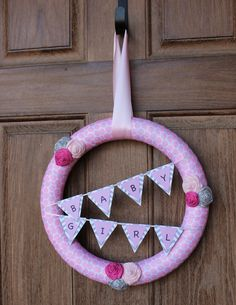 Baby Girl Shower Wreath