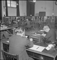 File:Automatic Telephone Exchange- Communications in Wartime, London, England, UK, 1945 England Uk, London England, Telephone Exchange, Lineman, British Isles, Vintage Photographs, Back In The Day, Britain, Phones