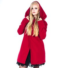 Poizen Industries Poizen Industries Red Riding Coat | Coats ...