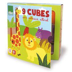 9 cubes pour créer 6 animaux différents, avec à chaque fois une mise en place des cubes différente; chez VILAC