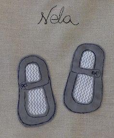 Shoe bags handmade with applique