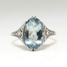 700c84e4a Antique Edwardian Vintage 1920's Aquamarine Rose Cut Diamond Ring Platinum  18k Yellow Gold | Antique &