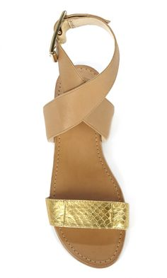 Tan & gold leather flat sandals in a flattering ankle wrapped design