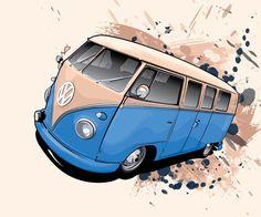 kombis desenho - Pesquisa Google Vw T1 Camper, Volkswagen Bus, Retro Cars, Vintage Cars, Combi Wv, Bus Art, Vw Classic, Car Illustration, Street Art