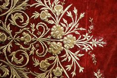 antique ottoman tablecloth: gold dival work on burgundy silk velvet