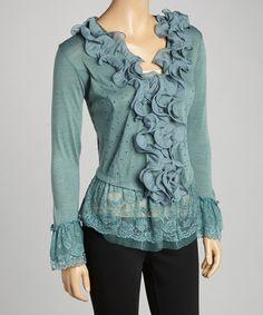Dark Turquoise Ruffle Linen-Blend Top http://www.zulily.com/invite/dr65128