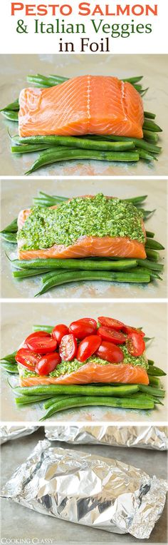 All Food and Drink: Pesto Salmon and Italian Veggies in Foil - Cooking... #Healthyfishrecipes