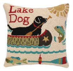 Peking Handicraft Lake Dog Hook Wool Throw Pillow