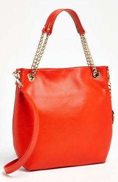 $198, Red Leather Tote Bag: MICHAEL Michael Kors Michl Michl Kors Jet Set Medium Chain Shoulder Tote. Sold by Nordstrom. Click for more info: https://lookastic.com/women/shop_items/68238/redirect