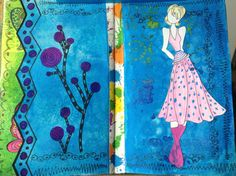 Art journal with Prima doll stamp