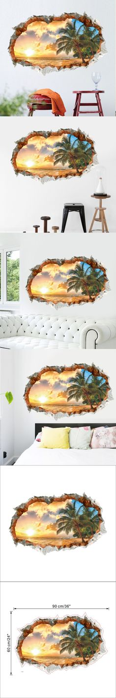 New creative sunny beach coconut tree landscape PVC wall sticker vinyl wall decal home decor for kids room living room bedroom $7.21
