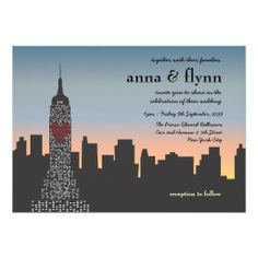 Shop New York City Sunset Skyline Wedding Invitation created by Pip_Gerard. Personalize it with photos & text or purchase as is! Wedding Cards, Wedding Invitations, Invites, Bridesmaid Thank You Cards, New York Theme, Different Font Styles, Sleepless In Seattle, Bachelorette Party Planning, New York Wedding