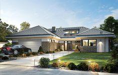 Projekt domu Wyjątkowy 2 201,09 m2 - koszt budowy - EXTRADOM Modern Villa Design, Modern Exterior House Designs, Modern Bungalow House, Bungalow House Plans, Dormer Bungalow, House Plans Mansion, Dream House Plans, Double Storey House, House Outside Design