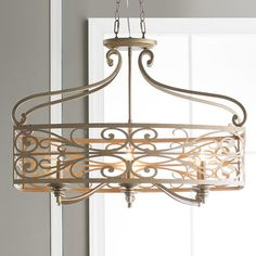 Check out Champagne Scrollwork Island Chandelier from Shades of Light Hallway Light Fixtures, Farmhouse Light Fixtures, Dining Room Light Fixtures, Dining Room Lighting, Home Lighting, Kitchen Lighting, Table Lighting, Custom Lighting, Island Lighting