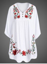 Elegant Embroidered 1/2 Sleeve Plus Size Dress For Women (WHITE,4XL) | Sammydress.com Mobile