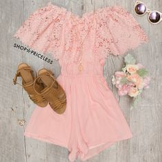 - Details - Size Guide - Model Stats - Contact Look fresh as a daisy in this Peony Lace Romper in blush! Features a lightweight, crochet, lace and chiffon-knit fabric with minimal stretch. Outfits For Teens, Casual Outfits, Summer Outfits, Fashion Outfits, Summer Clothes, Fashion Ideas, Sweet 16 Outfits, Pretty Outfits, Cute Outfits