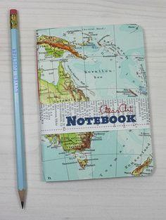 NOTIZHEFT KLEIN Australien, Neuseeland, Sidney, Melburne, 10,3x14,6cm, 64 S., liniert, Tagebuch, Skizzenbuch, Notizbuch, Landkarte, vintage