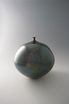 """Hideaki Miyamura, Vase, green crystalline glaze, porcelain, 12.25 x 11.25 x 11.25"""""""