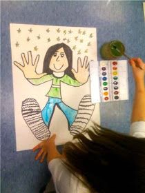 Great idea for back to school: Students draw around their hands and their feet. Then they draw a self portrait!