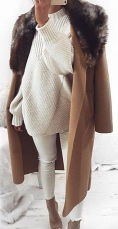 #winter #fashion / Brown Coat / White Oversized Turtleneck / White Skinny Jeans