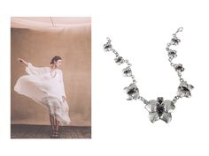 #‎AlexaChung‬ rocking an amazing white Chloé gown, Orchid Necklace by Donatella Fogante designer. #look #necklace #silver