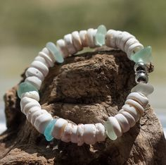 Sea glass bracelet puka shell bracelet genuine by BorealisSeaGlass, $25.00