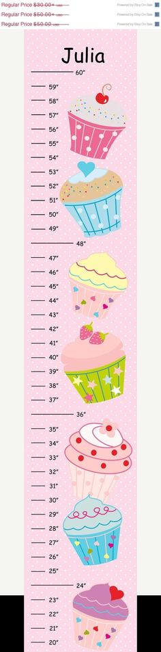 MEGA SALE SALE Personalized Cupcakes with Pink Polka Dot Background Canvas Growth Chart