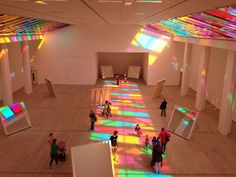 The Daniel Buren Exhibition at the Baltic: I love this. I see the overall effect of the light and colour working together by looking down at t Daniel Buren, Exhibition Space, Exhibition Display, Light Installation, Interactive Installation, Light And Shadow, Event Design, Corporate Design, Design Design
