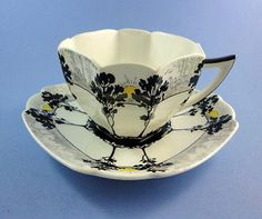 Rare Art Deco Sunrise and Black Trees Shelley Tea Cup and Saucer Set