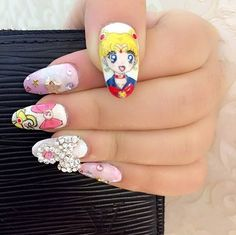 15 Sailor Moon Nail Art Ideas For an Out-of-This-World Manicure Chrime Nails, Manicure, Sailor Moon Nails, Kawaii Nail Art, Geek Fashion, Crazy Hair, Nail Designs, Geek Stuff, Sparkle