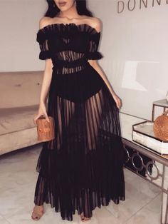 Shop Off Shoulder Sheer Mesh Maxi Dress – Discover sexy women fashion at Boutiquefeel Look Fashion, Womens Fashion, Fashion Tips, Fashion Design, Fashion Trends, Fashion Ideas, Ladies Fashion, Fashion Styles, Fashion Websites