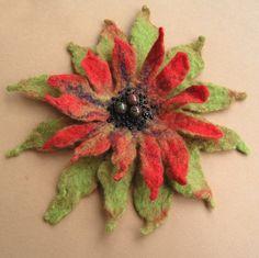 Green, Red Autumn Flower Felted Brooch - irina8 - Brooches