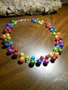 Neu unikat Regenbogen Polariskette bunt Halskette Collier Polaris perlen kette in Uhren & Schmuck, Modeschmuck, Halsketten & Anhänger   eBay