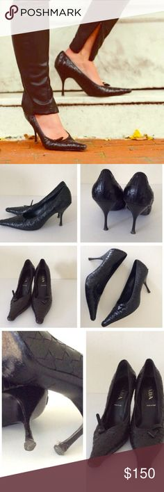 Black Prada Pumps Authentic black Prada pumps that are in good used condition. Size 40 and they are true to size. See photos to view wear. Still have lots of life left in them. Quilted/woven material with small bow for added detail. Prada Shoes Heels